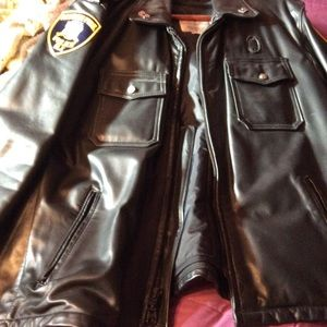 Black leather police jacket